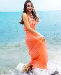 爱美丽泳衣纯色爱恋时尚沙滩抹胸长裙IM63MH1
