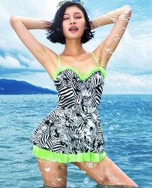 夏季新品 IMIS泳衣魅力斑纹3/4钢托性感时尚分身泳衣IM67MF2