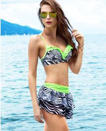 爱美丽泳衣魅力斑纹3/4杯带钢托比基尼三件套泳装IM67MF1