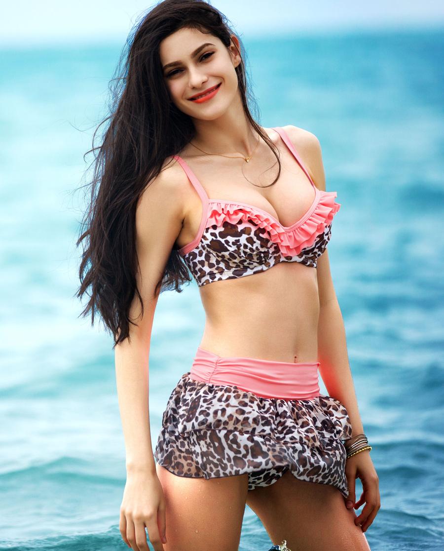 imi's泳衣|爱美丽泳衣热带潮豹比基尼三件套IM67ML1