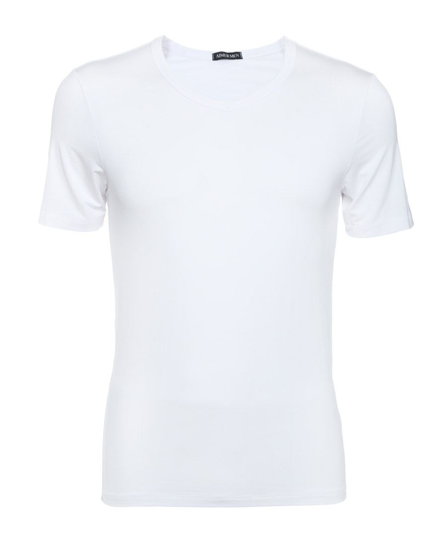 Aimer Men睡衣|爱慕先生50S莫代尔短袖V领上衣NS12S12