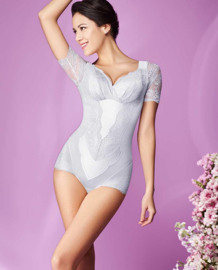 MODELAB美体|爱慕慕澜缎舞香姿中型短袖连体塑身衣AD35A22
