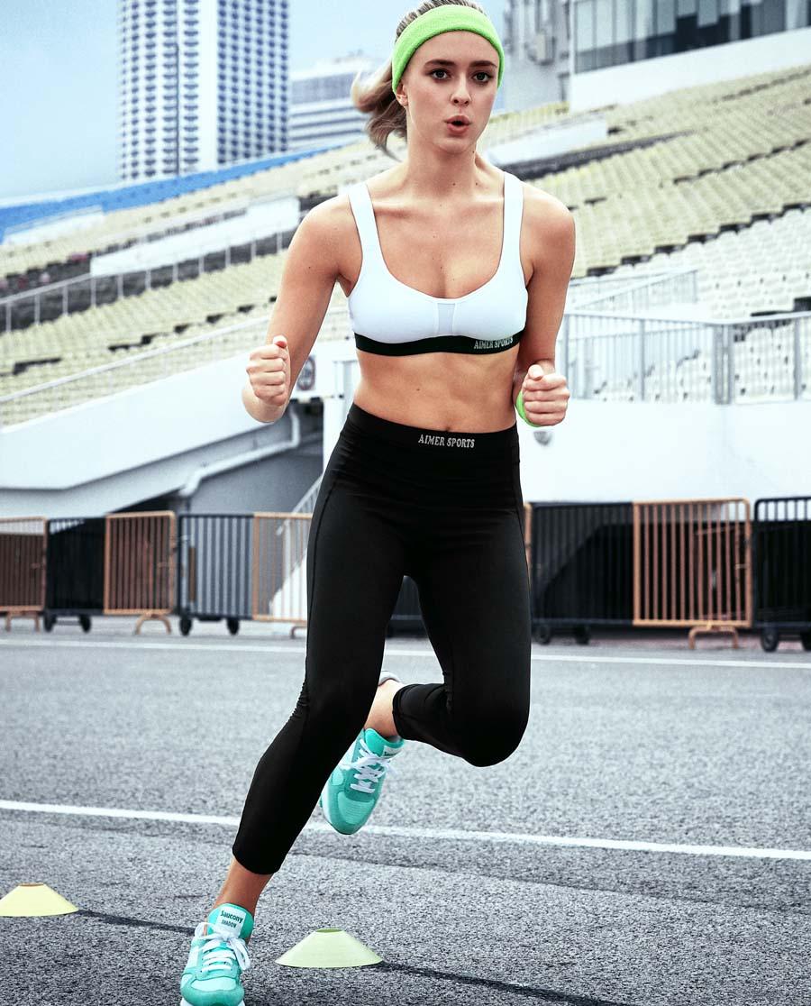 Aimer Sports运动装|爱慕运动COOL SPORTSⅡ跑步七分裤AS152821