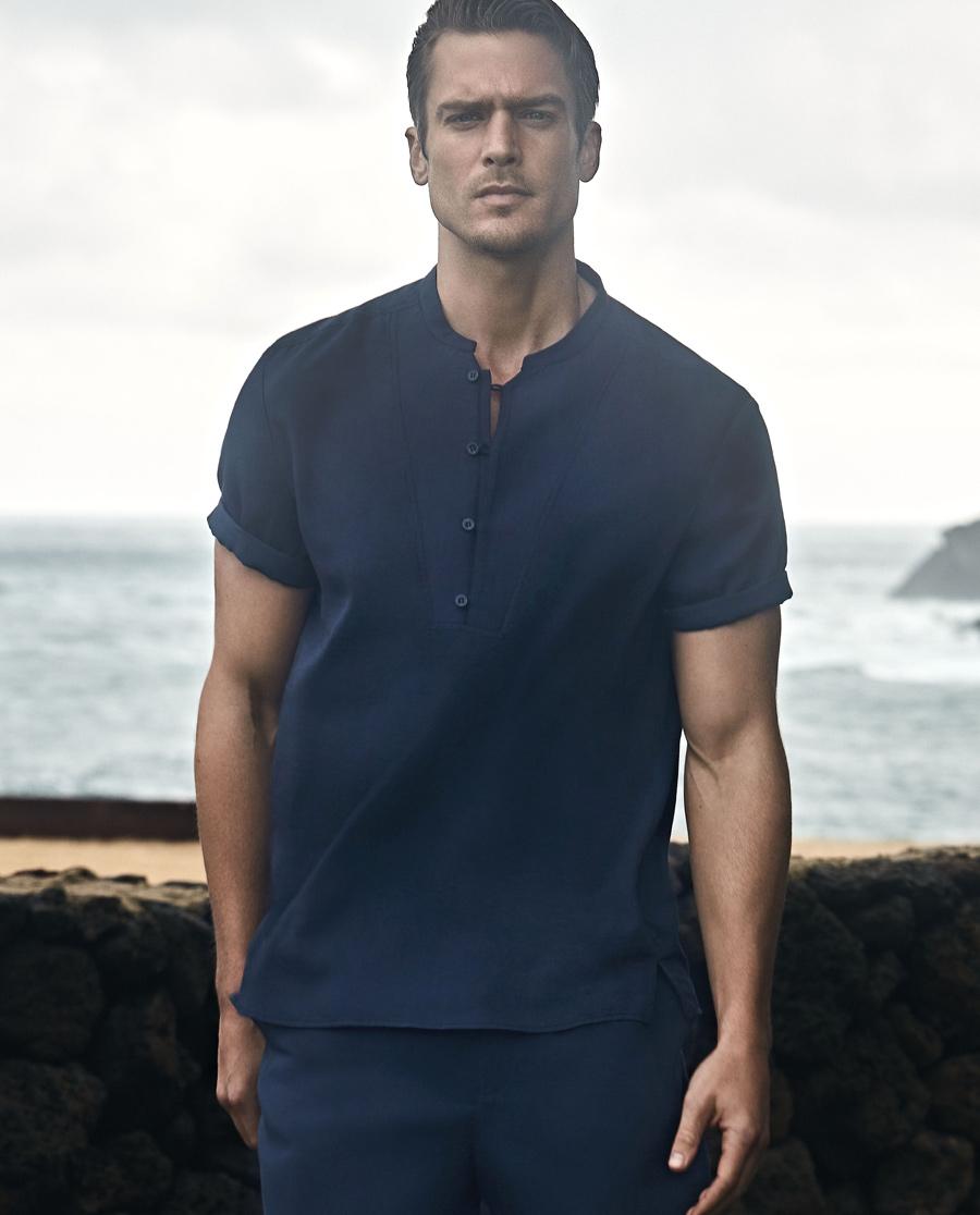 Aimer Men睡衣|爱慕先生儒林风雅短袖中式小凹领家居上衣NS41A094