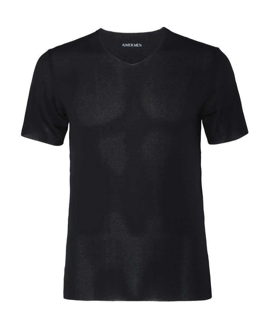 Aimer Men睡衣|爱慕先生网眼V领短袖上衣NS12A021