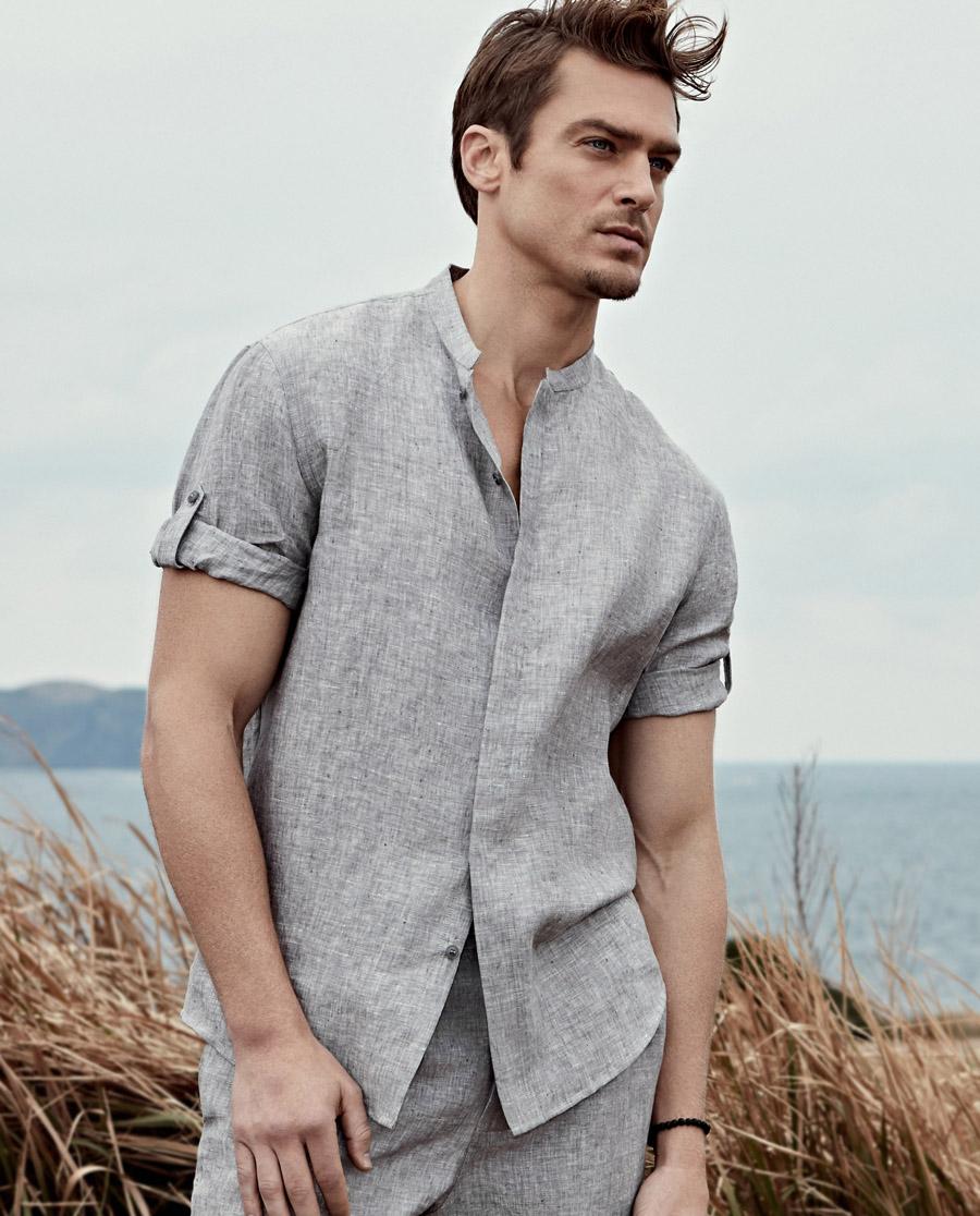 Aimer Men睡衣|爱慕先生亚麻七分袖开衫NS81A183