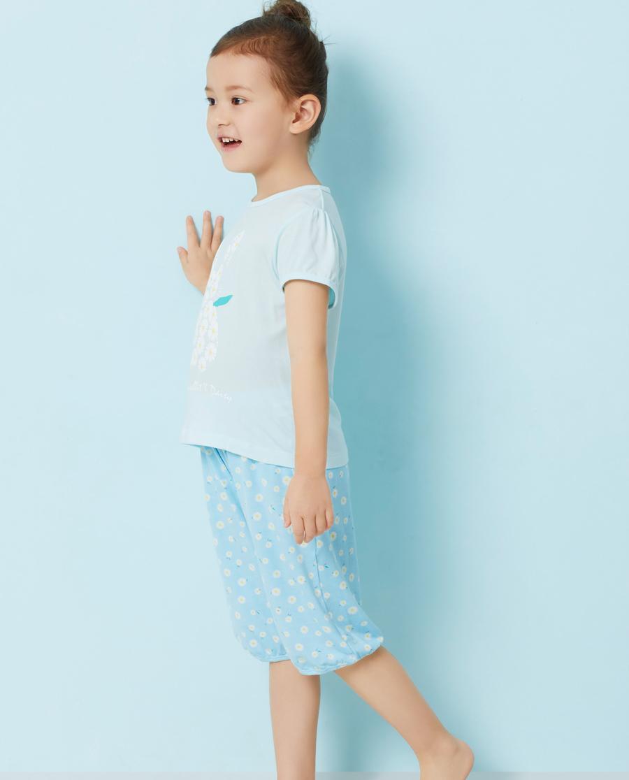 Aimer Kids睡衣|爱慕儿童萌兔花园家居七分裤AK142Q61