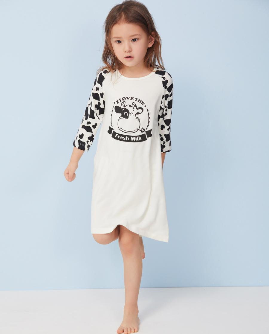 Aimer Kids睡衣|愛慕兒童軟奶糖七分袖中長款家居睡裙AK3