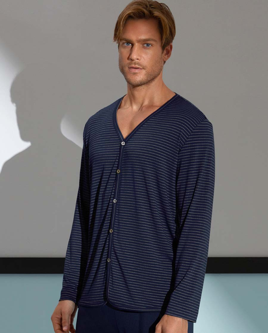 Aimer Men睡衣 爱慕先生条纹主题蓝长袖家居开衫NS41A411