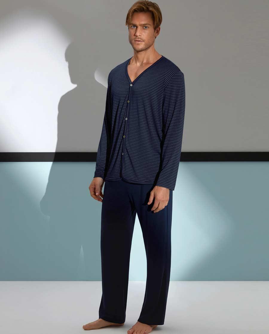 Aimer Men睡衣 爱慕先生条纹主题蓝家居长裤NS42A411