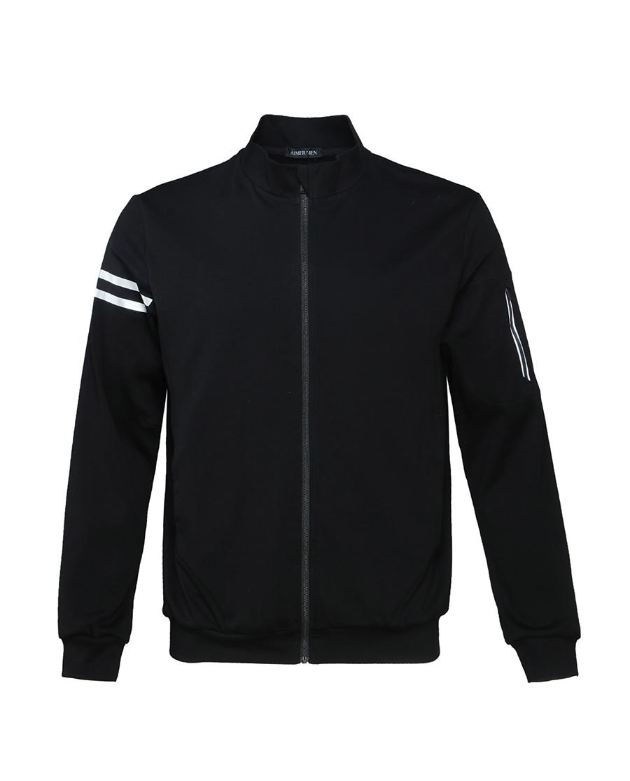 Aimer Men休闲外穿|爱慕先生酷黑运动外穿长袖上衣NS81A491