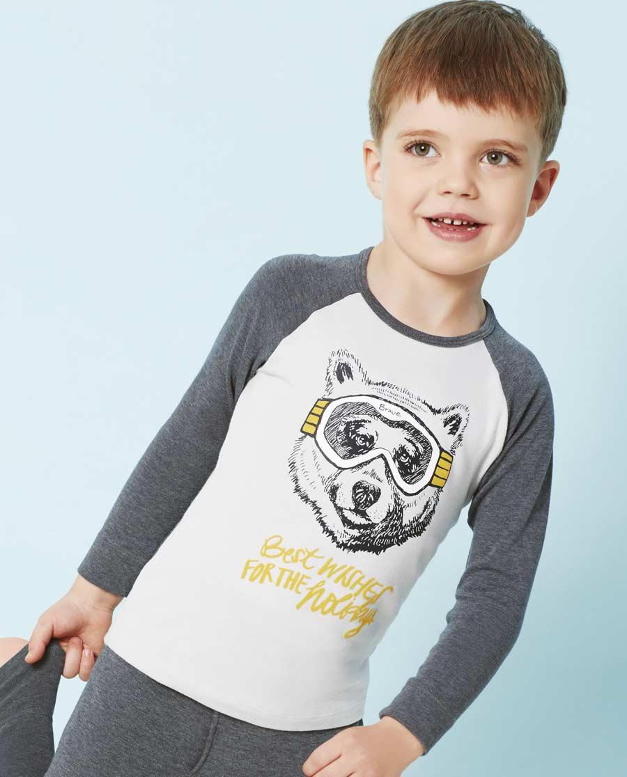 Aimer Kids保暖|爱慕儿童酷玩熊双层长袖上衣AK272T82