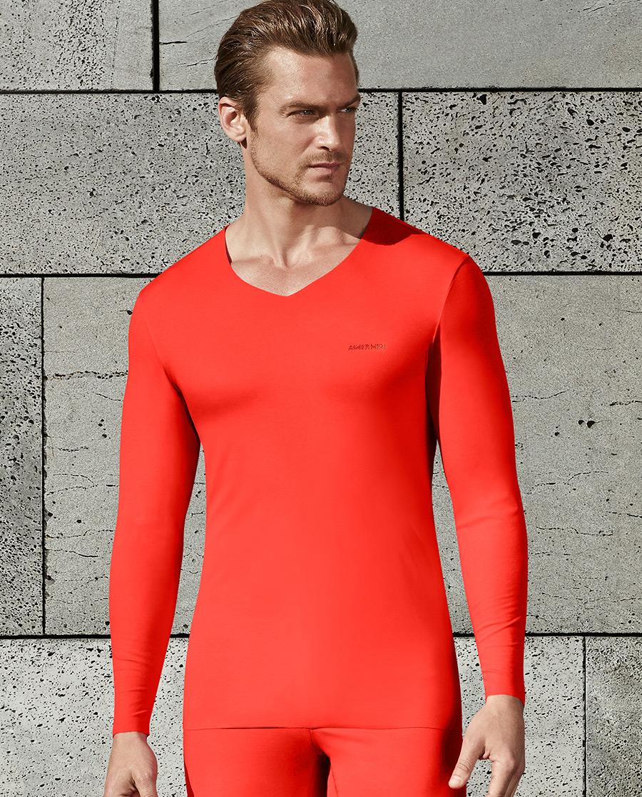 Aimer Men保暖 爱慕先生红品系列V领长袖上衣NS72O31