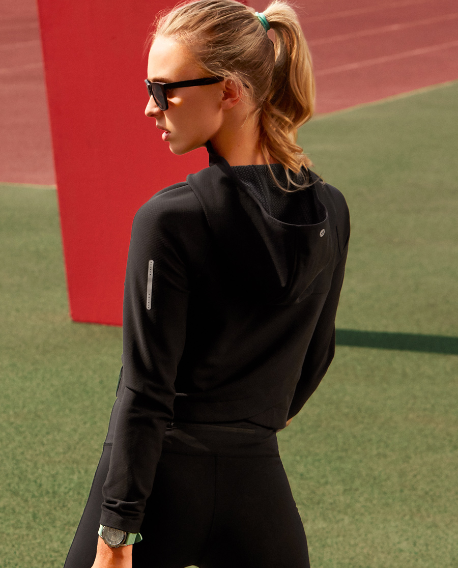 Aimer Sports运动装|爱慕运动动感映象连帽拉链上衣AS144B61
