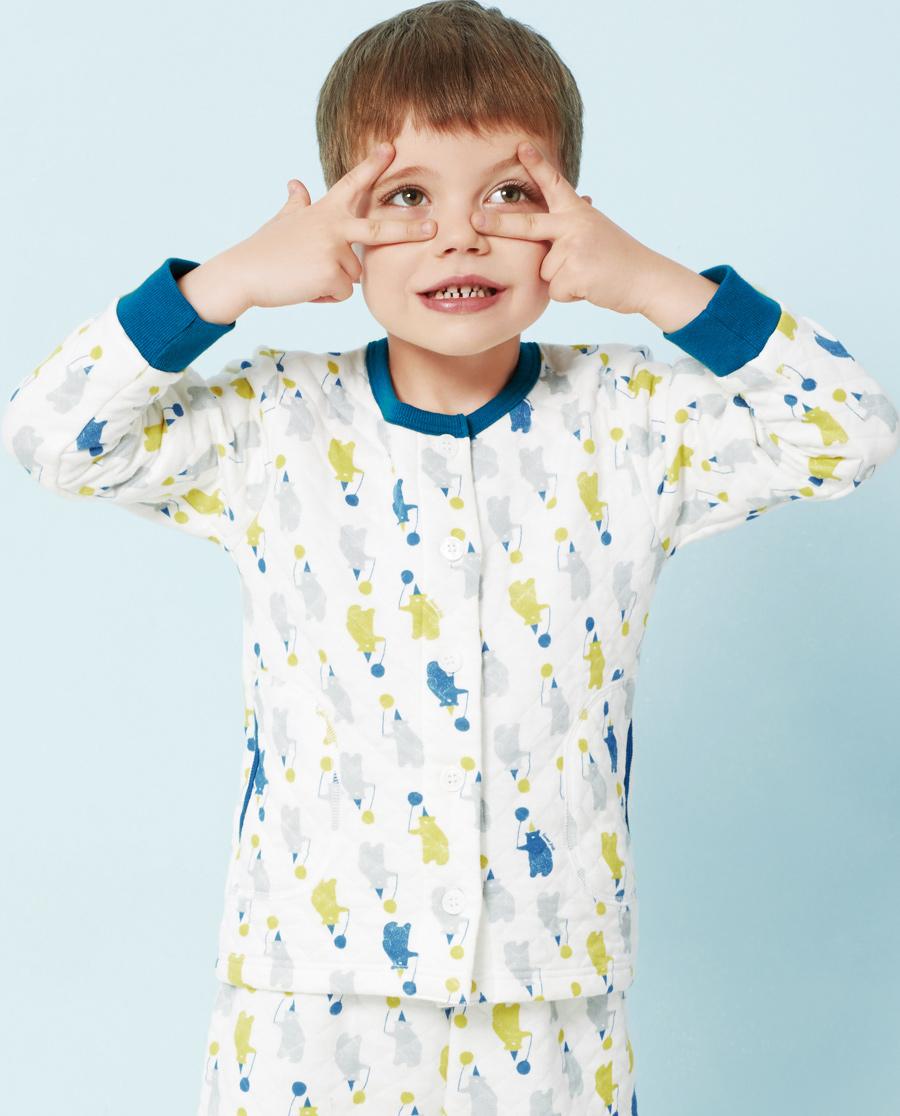 Aimer Kids睡衣|爱慕儿童轻松熊圆领长袖上衣AK241U41
