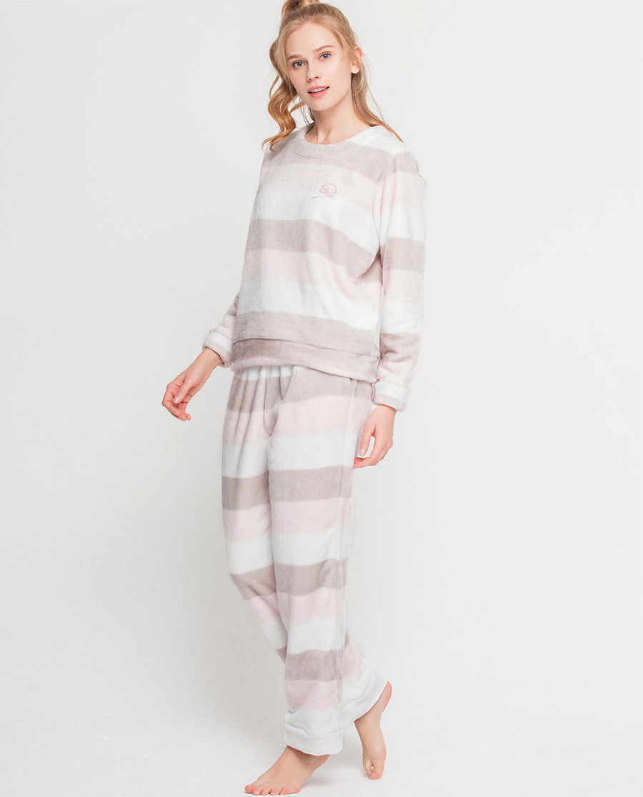 imi's睡衣|爱美丽家居条纹圆领套头长袖上衣长裤套装IM46AJR2