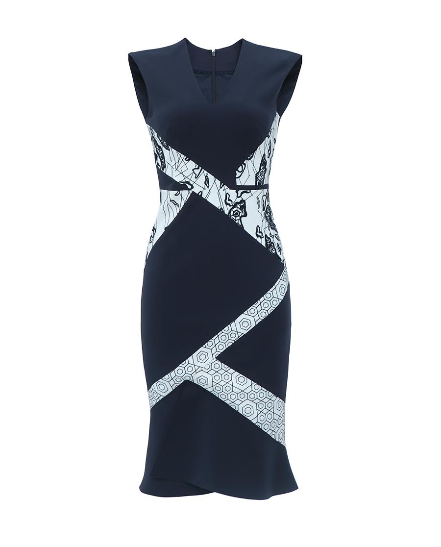 pH15时尚女装|pH15秋冬新品刺绣拼接撞色鱼尾收腰长款