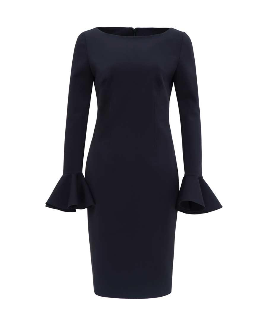 pH15时尚女装|pH15秋冬新品修身刺绣船领荷叶长袖中长