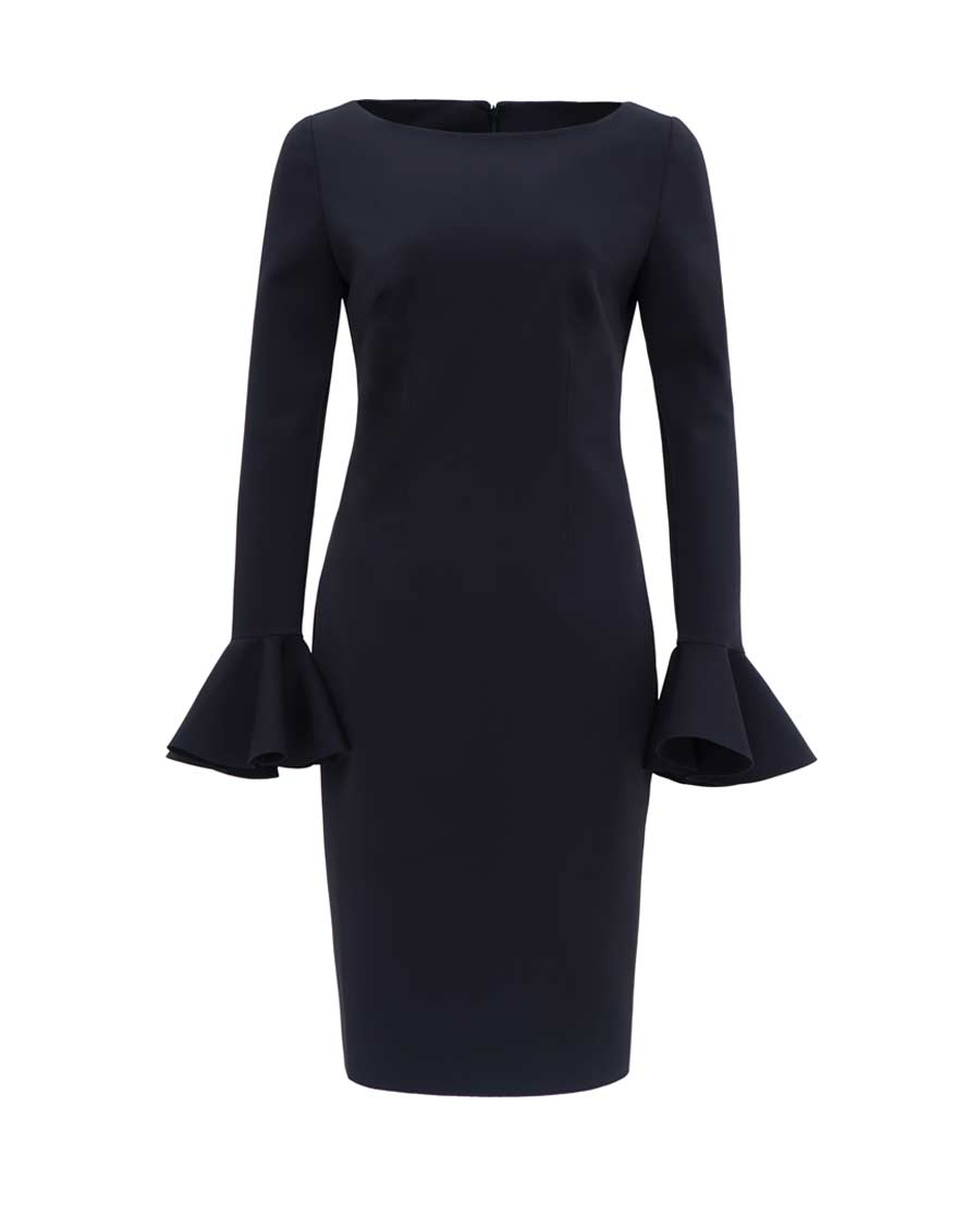 pH15时尚女装|pH15修身刺绣船领荷叶长袖中长款连衣裙