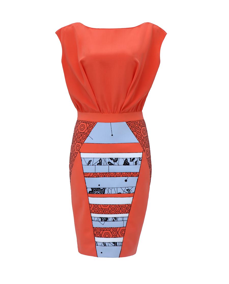 pH15时尚女装|pH15两截式刺绣撞色连肩无袖收腰连衣裙