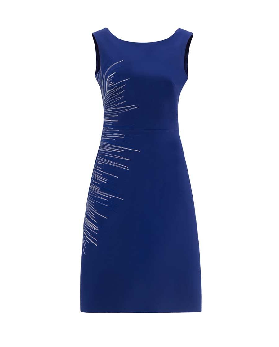 pH15时尚女装|pH15修身收腰不对称刺绣船领A摆连衣裙