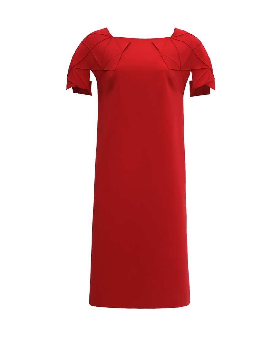 pH15时尚女装|pH15折纸短袖直身宽松版型中长连衣裙P