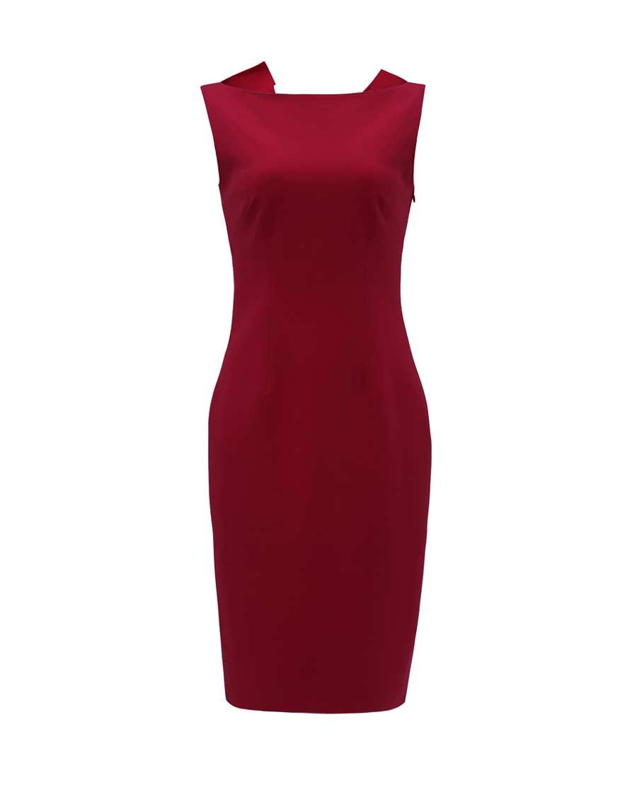 pH15时尚女装|pH15后背开口折纸船领无袖修身连衣裙P