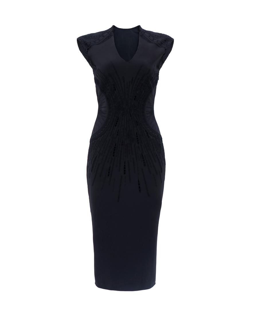 pH15时尚女装|PH15V领全刺绣撞色紧身无袖收腰连衣裙
