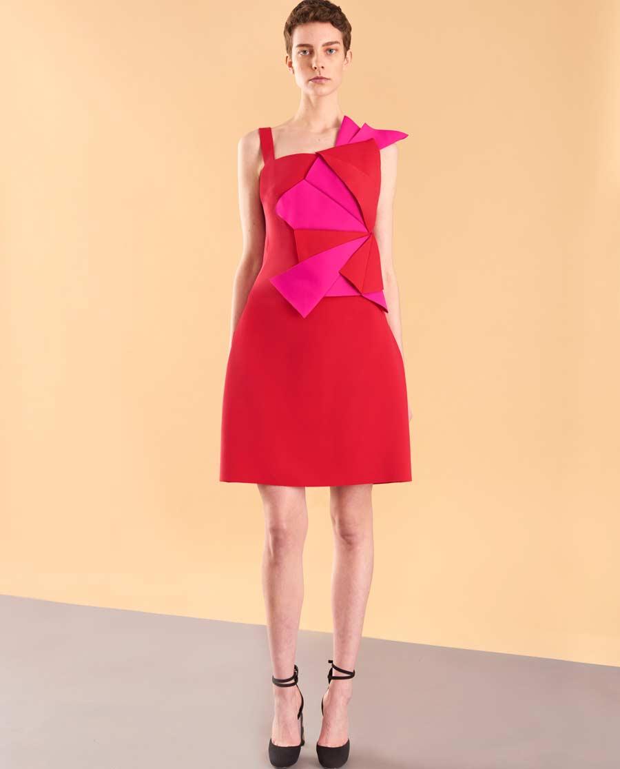 pH15时尚女装|pH15秋冬新品不对称折纸修身A摆细肩带鸡尾酒裙PH1572C240
