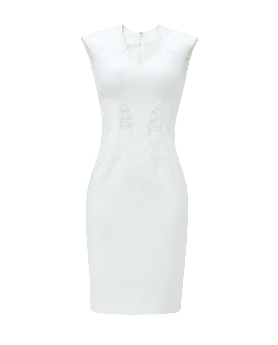 pH15时尚女装|PH15V领刺绣收腰无袖弹力中长连衣裙P