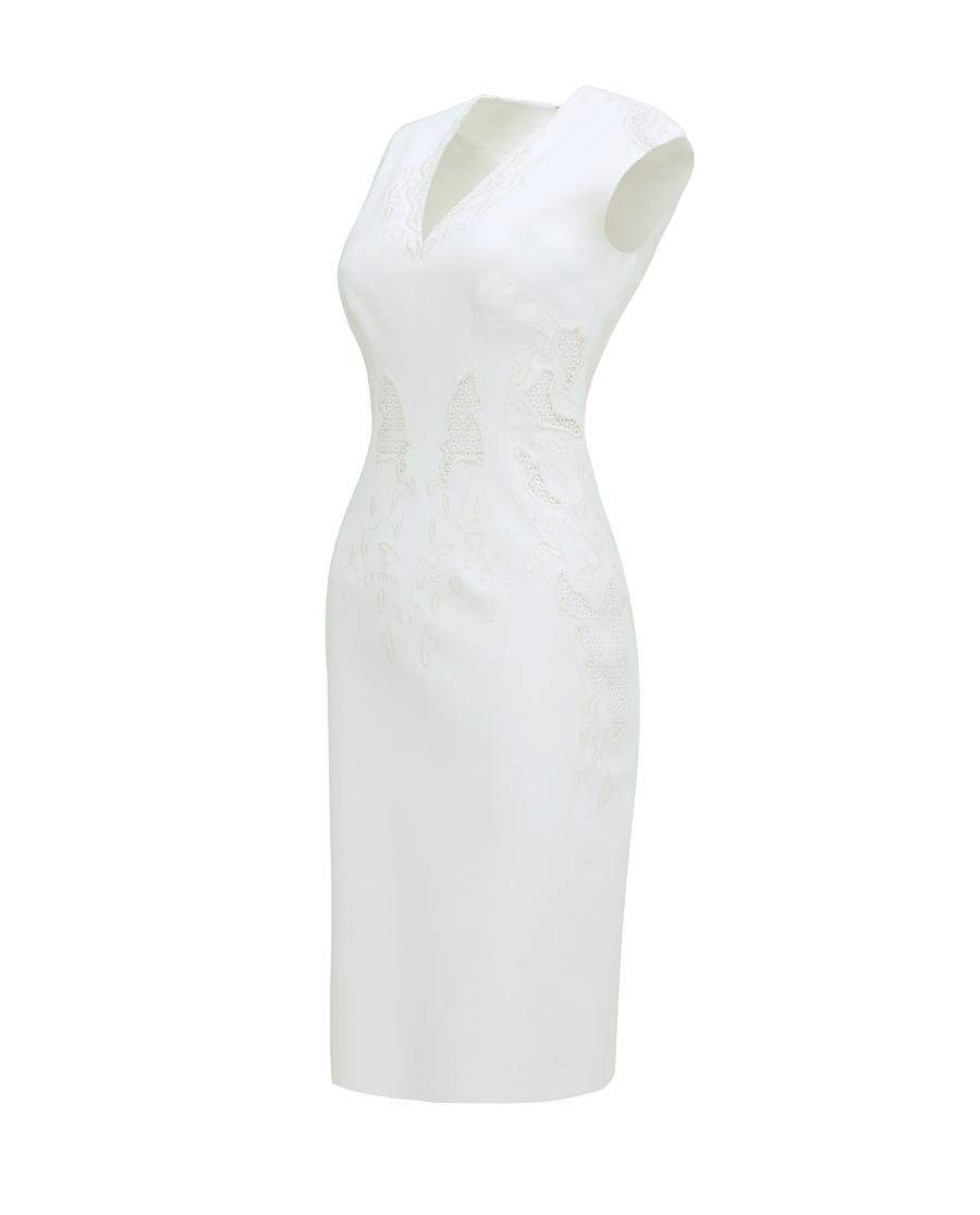 pH15时尚女装|PH15秋冬新品V领刺绣收腰无袖弹力中长连衣裙PH1571C090