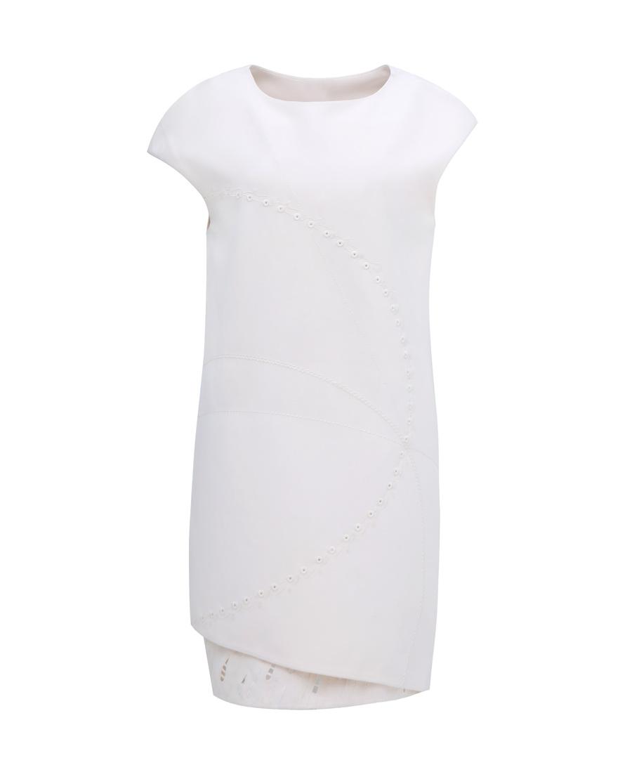 pH15时尚女装|PH15连肩袖圆领双层刺绣中长直身连衣裙