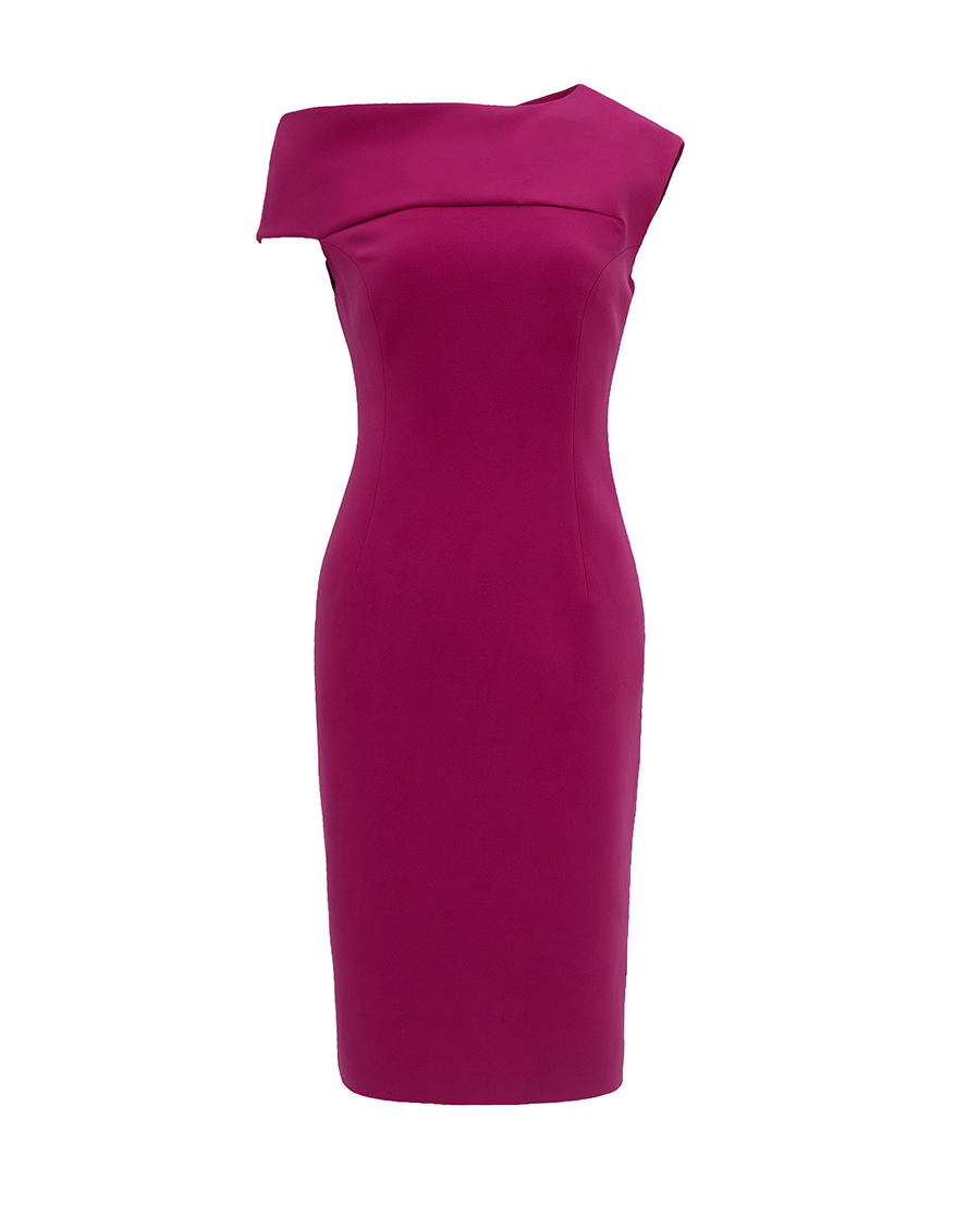 pH15时尚女装|pH15秋冬新品不对称单肩无袖弹力中长收腰连衣裙PH1561C100