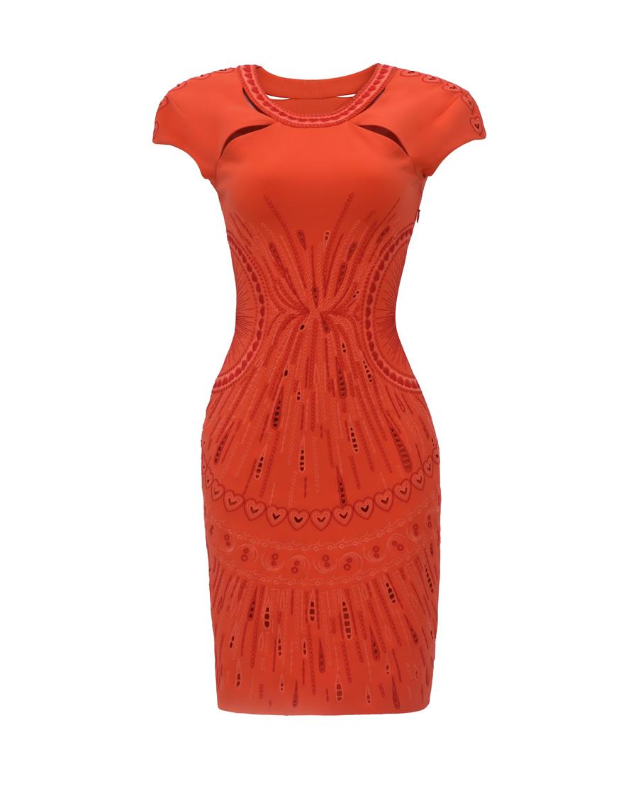 pH15时尚女装|PH15圆领镂空短袖刺绣撞色收腰衣身裙P