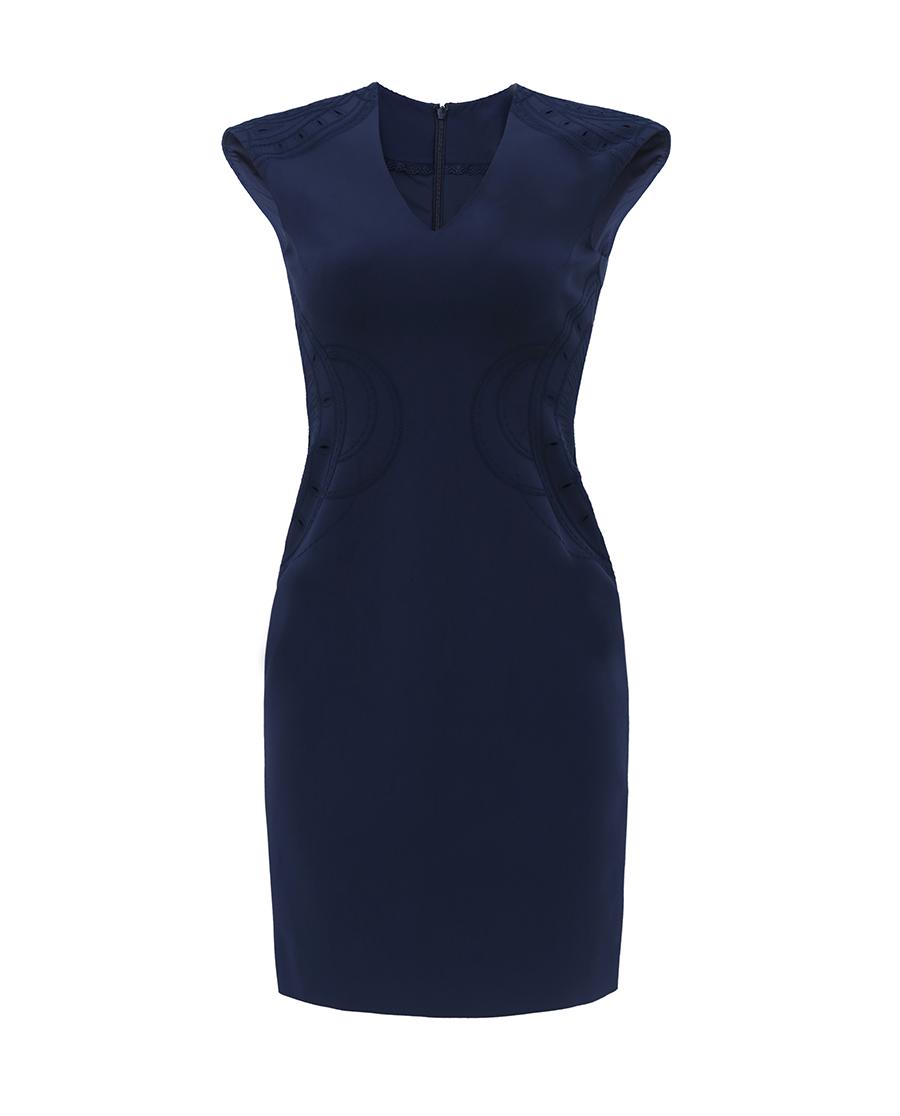 pH15时尚女装|pH15V领无袖刺绣中长简约收腰连衣裙P