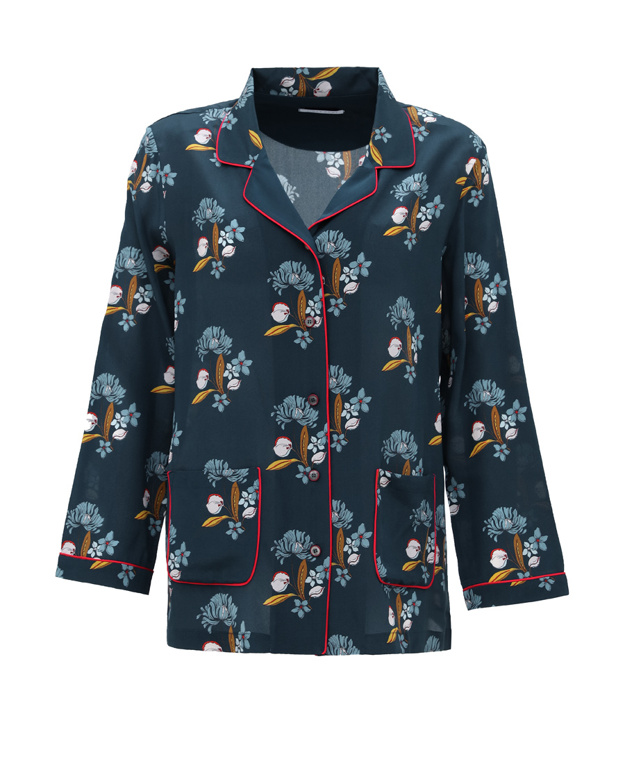 Aimer Home睡衣|爱慕家品爱乐之城长袖翻领上衣AH4501