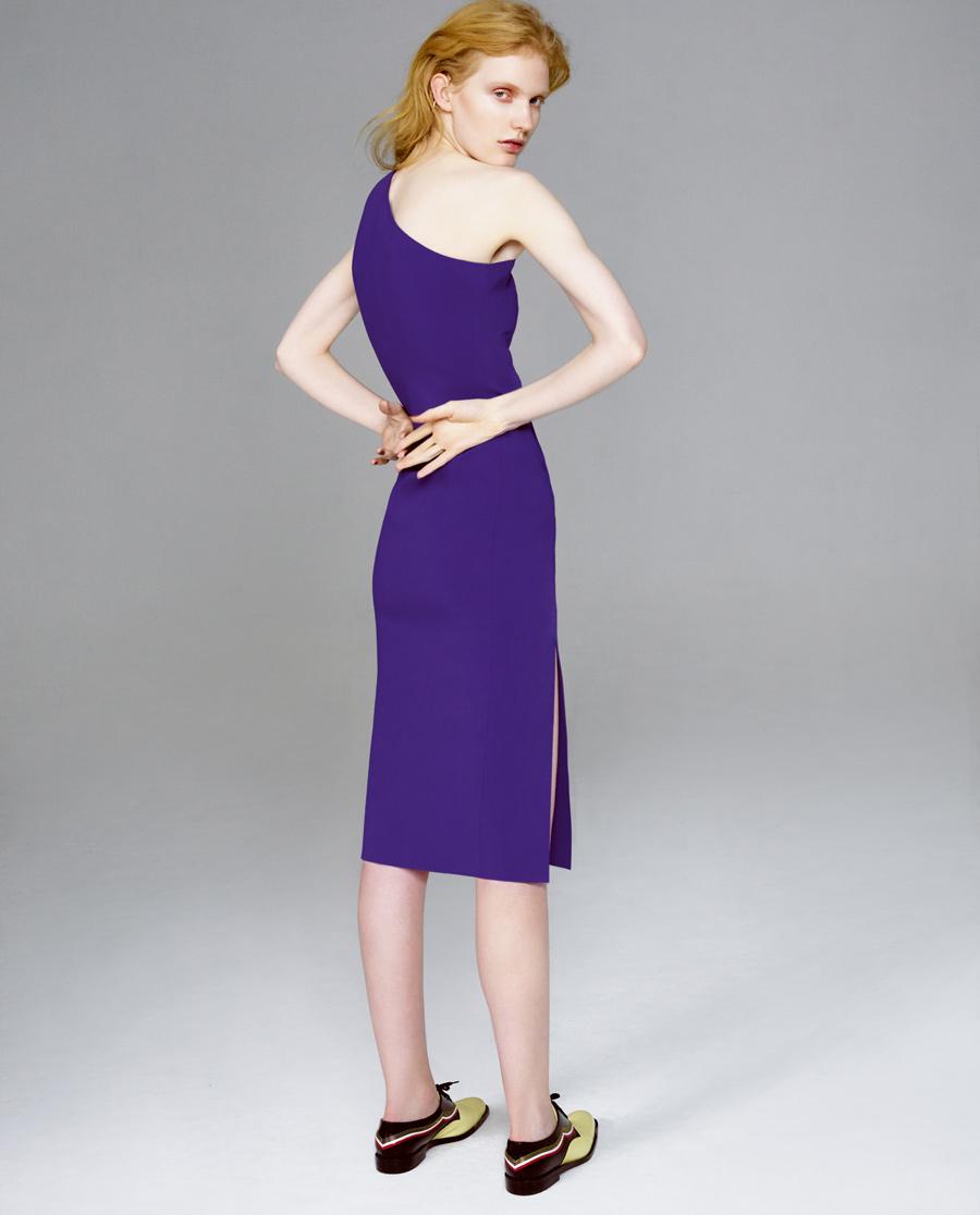 pH15时尚女装|pH15秋冬新品斜单肩无袖前开叉中长收腰连衣裙PH1562C220