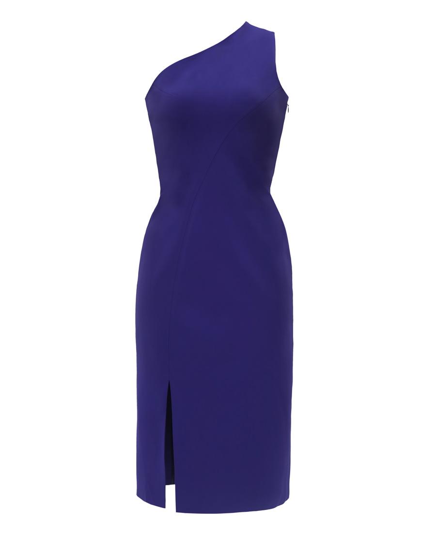 pH15时尚女装|pH15秋冬新品斜单肩无袖前开叉中长收腰
