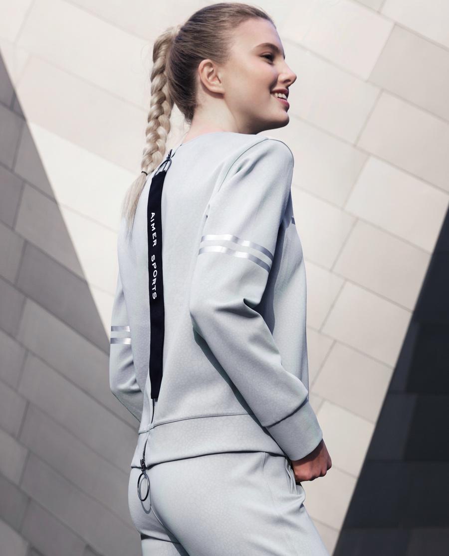 Aimer Sports睡衣|爱慕运动复古派后拉链套头上衣AS144D11