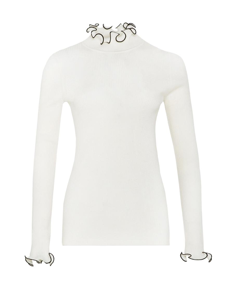 pH15时尚女装|pH15装饰木耳边短款宽松长袖打底针织衫