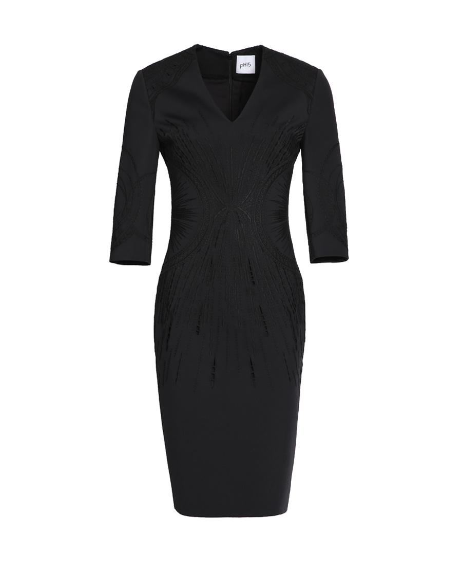 pH15时尚女装|pH15修身收腰刺绣V领七分袖中长连衣裙