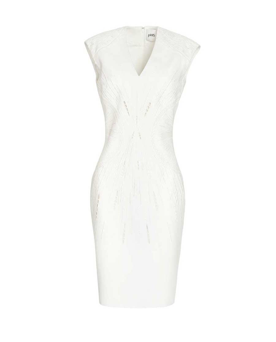 pH15时尚女装|pH15修身收腰刺绣V领无袖中长连衣裙P