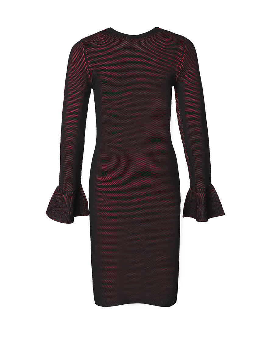 pH15时尚女装|pH15圆领双色针织荷叶长袖口修身连衣裙
