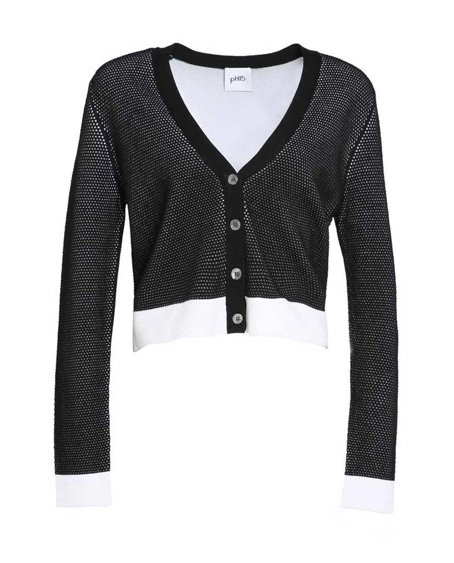 pH15时尚女装|pH15秋冬新品双色针织廓形宽松短款长袖开襟衫PH1572K011