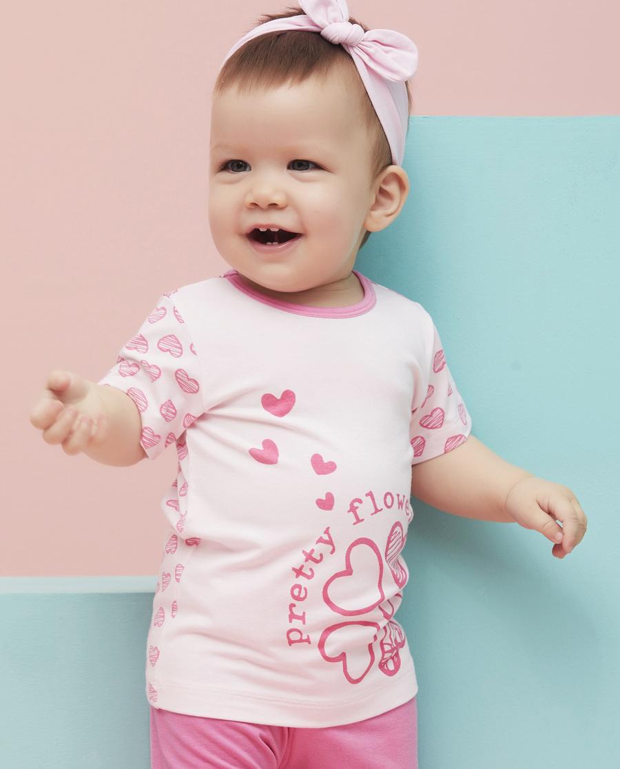 Aimer Baby睡衣|爱慕婴儿心心花海套头短袖家居上衣AB141492