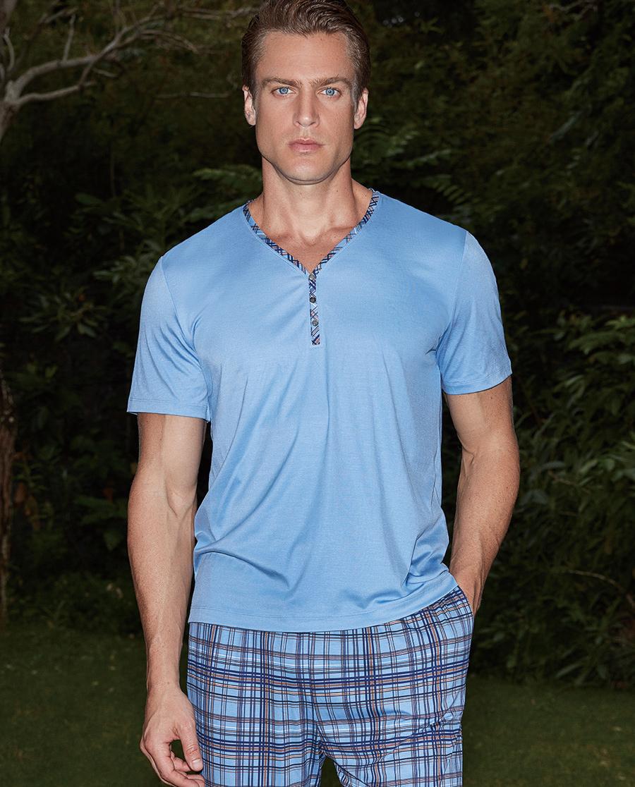 Aimer Men睡衣|爱慕先生新品纵享丝滑Y领短袖上衣NS41A751