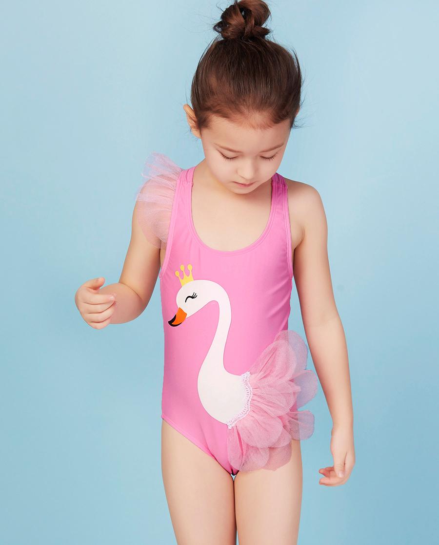 Aimer Kids泳衣|愛慕兒童夢幻天鵝連體泳衣AK167Y21