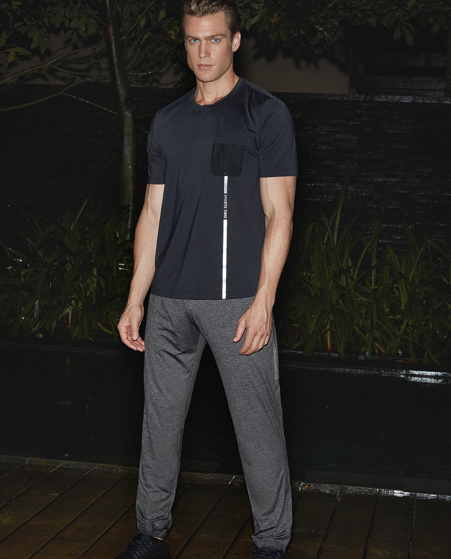 Aimer Men运动装|爱慕先生新品酷黑运动收口长裤NS63A743