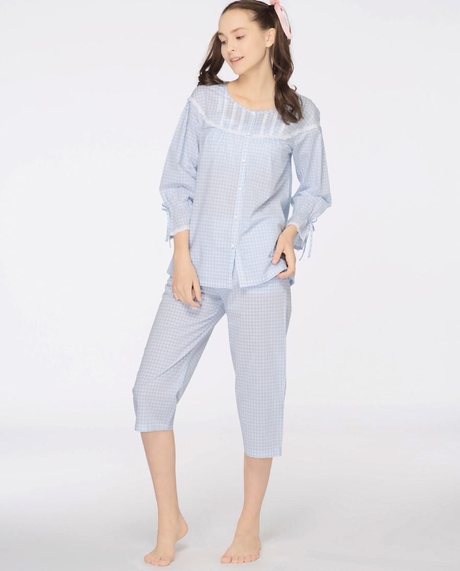 imi's睡衣|爱美丽Teen-格子兔圆领开衫九分袖上衣七分裤套装IM46AKV1