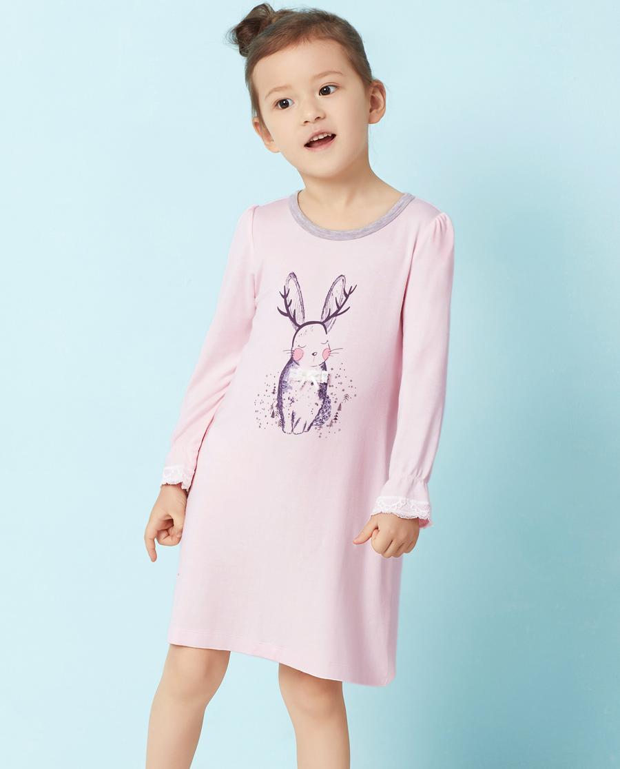 Aimer Kids睡衣|爱慕儿童梦绘森林圆领长袖睡裙AK144N31